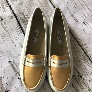 Trotters penny loafers. Gold, white & silver